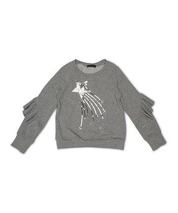 348f3efea6 Gray Shooting Star Ruffle-Sleeve Sweatshirt - Girls