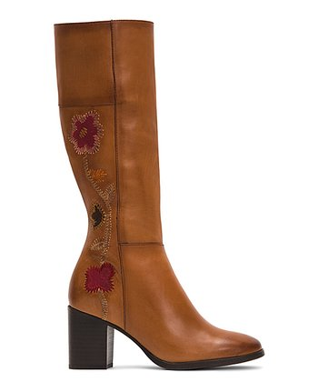 68ef9f2be9bc Cognac Nova Flower Tall Leather Boot - Women