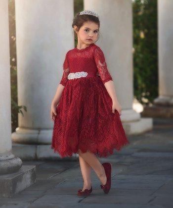 57e1742592103 Burgundy Bella Rafaella A-Line Dress - Infant, Toddler & Girls