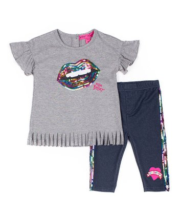 f4fdd2ef33d4 Gray Sequin Lips Fringe-Hem Angel-Sleeve Tee   Blue Sequin Capri Leggings -  Infant   Girls