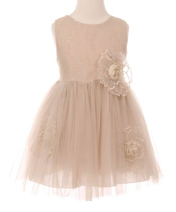675a07f72732 Champagne Floral-Accent Tulle Sleeveless A-Line Dress - Toddler & Girls