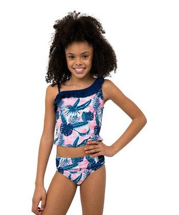 28e4893e70363 Blue & Pink Palm Tree Asymmetrical Tankini - Girls