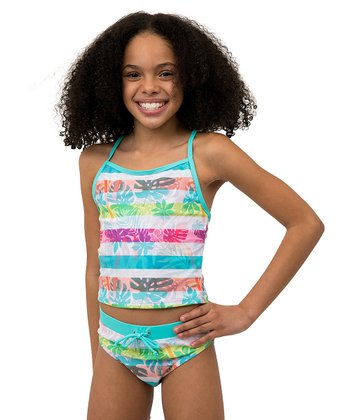 c61ef031f9f51 Blue & Pink Tropical Stripe Tankini - Girls