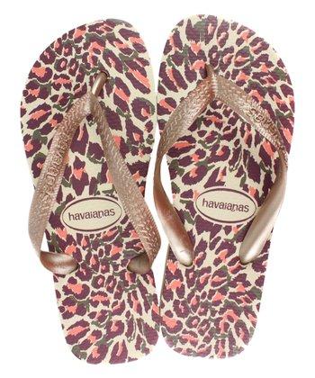 5229b3923 Beige   Rose Gold Leopard Top Flip Flop - Women