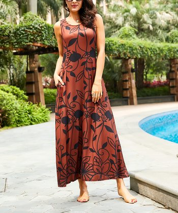 0b78a919d5 Brown Floral Sleeveless Side-Pocket Maxi Dress - Women