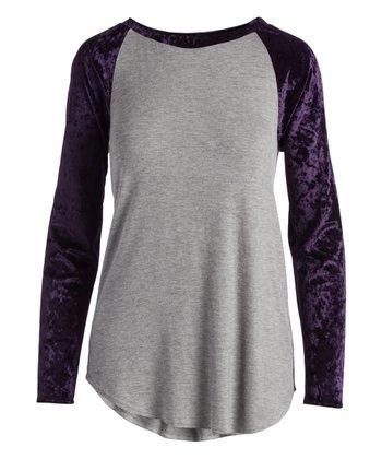 d07e25c60 Heather Gray & Purple Velvet Raglan Top - Women & Plus · Hunter Green &  Black ...