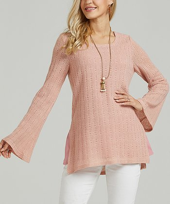 f3c3acb0018 Dusty Rose Pointelle Bell-Sleeve Tunic - Women & Plus