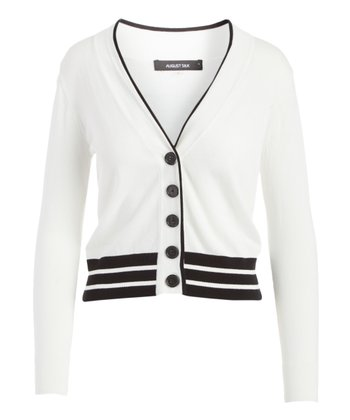 a23a8f396baa27 White Stripe Hem V-Neck Cardigan - Women