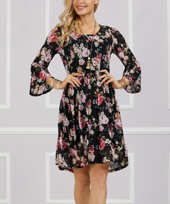 fe5c66521fe Black Floral Empire-Waist Dress - Women   Plus