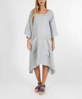 0d2f06fe4e2 Light Gray Tie-Back Pocket Linen Shift Dress - Women