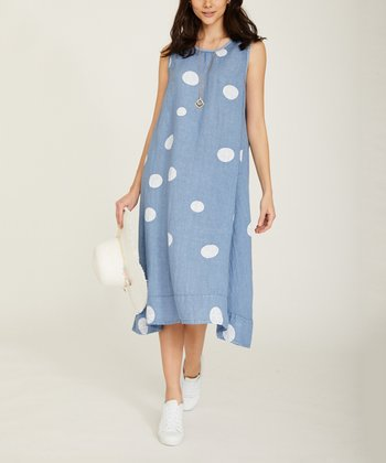 c94e3591e43 Blue Jean Polka Dot Sleeveless Maxi Dress - Women. White Floral Linen ...