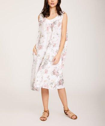 bce9e248f625 White Floral Linen Sleeveless Dress - Women & Plus