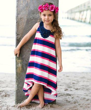 130df1efaee Navy   Ivory Stripe Hi-Low Yoke Dress - Girls
