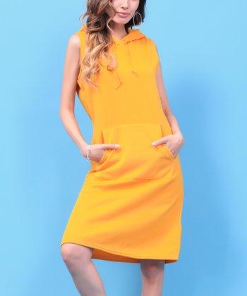 874696d9d30 Yellow Hooded Fleece Shift Dress - Women