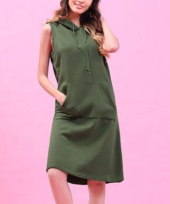 39174757d84 Dark Green Hooded Fleece Shift Dress - Women   Plus