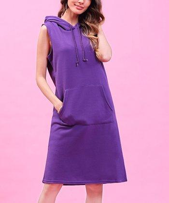 841219c3764 Purple Hooded Fleece Sleeveless Dress - Plus