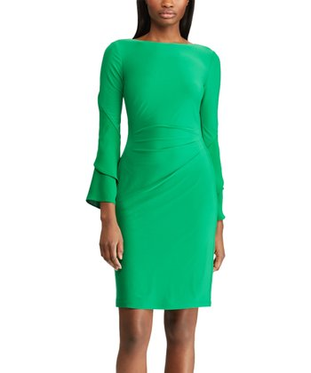 f021580e4cc Cambridge Green Tulip-Sleeve Jersey Boatneck Dress - Women