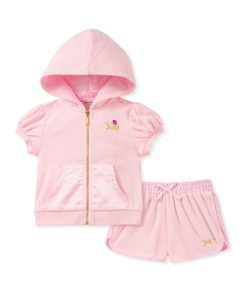 252efb5a3e72 Pink Floral Puff-Sleeve Zip-Up  Juicy  Hoodie   Shorts - Infant