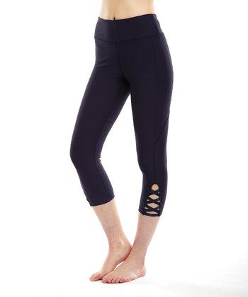 4a6a8d47230ee Plum Lace-Up Accent Capri Leggings - Women