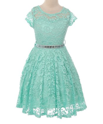 1ea8ccfb116 Mint Lace Rhinestone Belted A-Line Dress - Girls