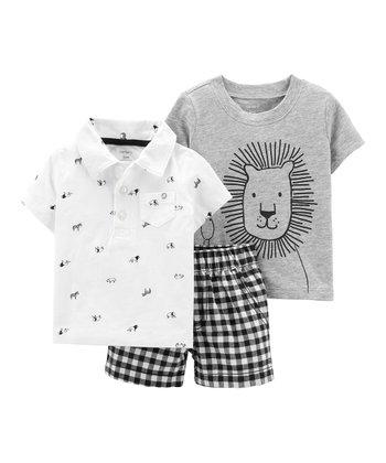 28cbd256c5f5 Black   White Safari Animal Polo Set - Infant