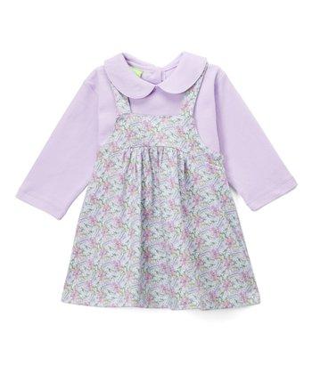 4839b9989 White Floral Frock & Denim Jumper - Infant · Pink & Floral Collar Top &  Jumper - Infant