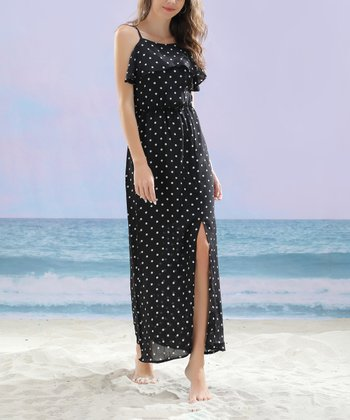 fee2447ff4c Black Print Polka Dot Layered Yoke Maxi Dress - Plus