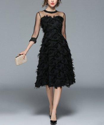 4e6408553ff Black Sheer-Accent Fit   Flare Dress - Women