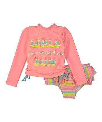 7e212f2282 Coral  Girls Just Wanna Have Sun  Rashguard Set - Infant   Toddler