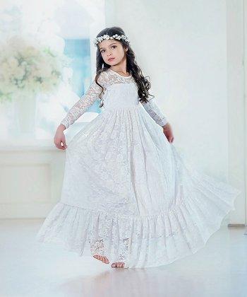 5e11f77fca White Lace Long-Sleeve Sweetheart Maxi Dress - Girls