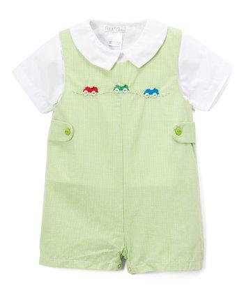 4430f80157da Green Check Car-Embroidered Romper   White Button-Up - Infant
