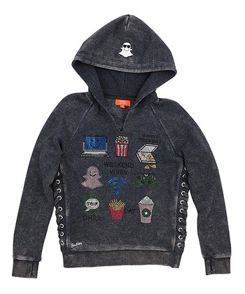 7d7b9516a Black 'Weekend Vibe' Mineral Wash Side-Lace Hoodie - Girls