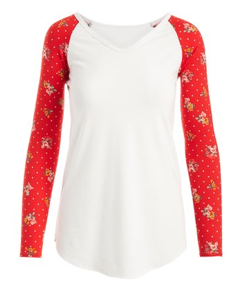 ca0fcedf3 Ivory & Red Floral Dot V-Neck Raglan Tee - Women & Plus