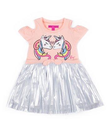 61b380bb9a72 Coral & Silver Unicorn Cutout A-Line Dress - Girls