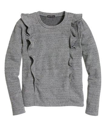 62c5aa7d4100 Gray Ruffle Crewneck Sweater - Women