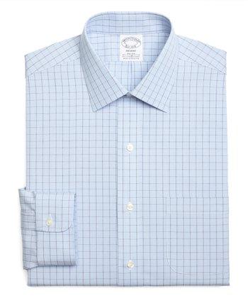 292f8fd9 Light Blue Houndstooth Check Supima® Stretch Regent-Fit Button-Up - Men &  Big