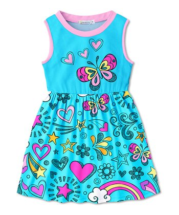 9350d074cd1 Turquoise   Pink Heart Butterfly Betsy Sleeveless Dress - Toddler   Girls