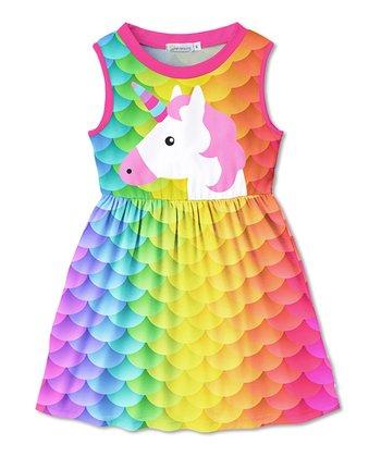 482472a595a Blue Yellow   Orange Ombré Scale Unicorn Betsy Sleeveless Dress - Toddler    Girls