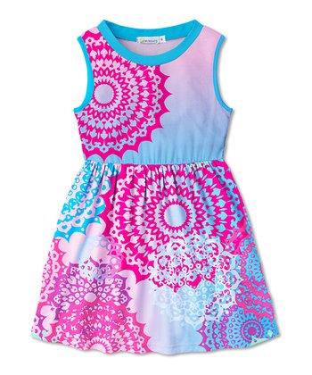 ca466ed4e46 Turquoise   Pink Ombré Kaleidoscope Betsy Sleeveless Dress - Toddler   Girls