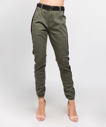 5d0705a4c4e Olive   Black Side-Stripe High-Rise Joggers - Women
