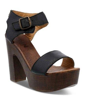 6499fe8df34a Black Paisley Block-Heel Leather Sandal - Women