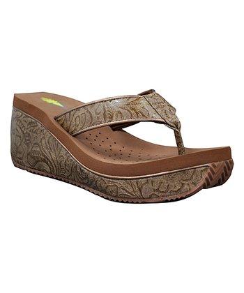 015dc3c37a3 Tan Metallic-Finish Mextas Wedge Sandal - Women