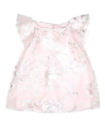 5c1344e16ee Pink Floral-Accent Flutter-Sleeve Dress - Infant