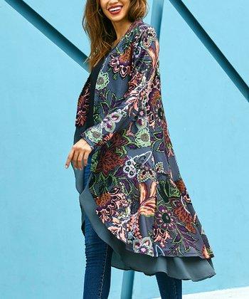 409239c4b28 Charcoal Floral Open Drape Cardigan - Women. Black Notch Neck Pin Tuck Tunic  - Women. Turquoise Split-Hem ...