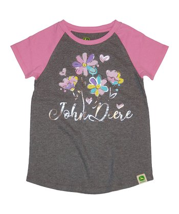 49c0ae8ed Heather Gray & Pink John Floral 'John Deere' Raglan Tee - Girls