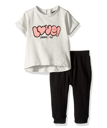 126c05a3 Gray & Pink 'Love' French Terry Top & Black Joggers - Infant, Toddler &  Girls
