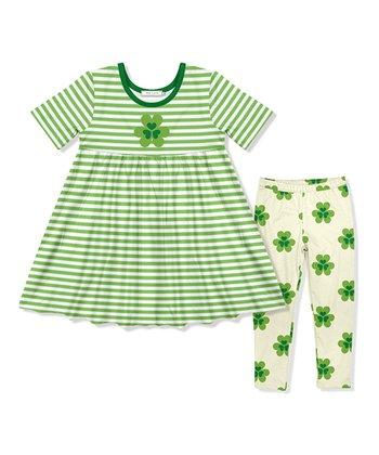 35929c7300db4 Green Stripe A-Line Dress   Shamrock Leggings Set - Infant