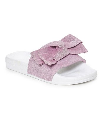 9c2b826950194 Lilac   White Glitter Mesh Bow Slide - Girls