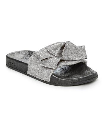 82c289894 Silver   Black Glitter Mesh Bow Slide - Girls