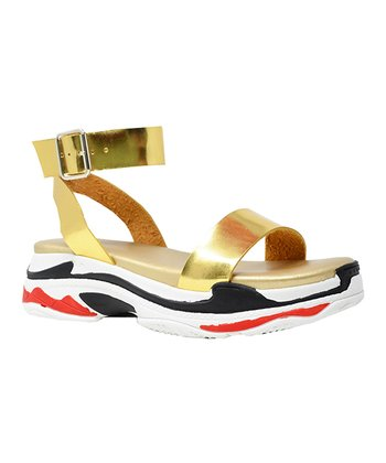 b2116d081733 Gold   Black Dash Sandal - Women